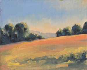 Late Afternoon Hillside - 8x10 oil on canvas