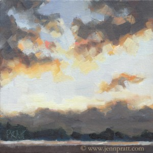 Manzanita Day Break, 6x6 Oil on Canvas Panel, sold
