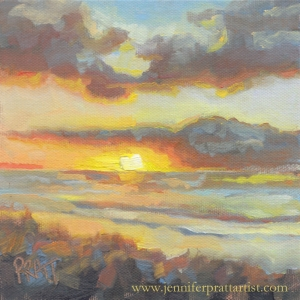 Neskowin Sunset from The Breakers. 6x6 Oil on Canvas, SOLD