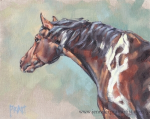 Tobiano on an Angle, 8x10, Oil on Canvas Panel